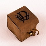 Weddingstar Personalizable Tanned Genuine Leather Ring Box
