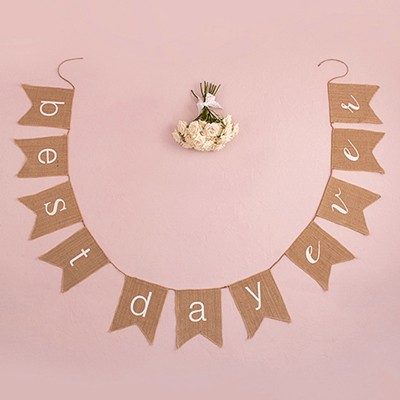 "Weddingstar ""best day ever"" Natural Burlap Banner"