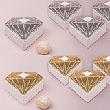 Diamond-Motif Favor Boxes w/ Metallic Gold or Silver Foil (Set of 10)