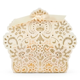 Weddingstar Luscious Foil Lace Favor Box with Ribbon (Set of 10)