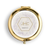 Weddingstar Personalized Compact Mirror - Geo Marble Design (3 Colors)