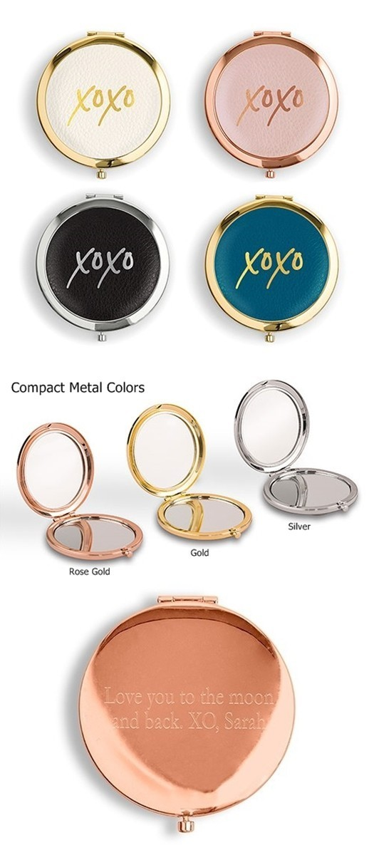 Personalizable XOXO Gold Design Faux-Leather Compact Mirror (3 Colors)