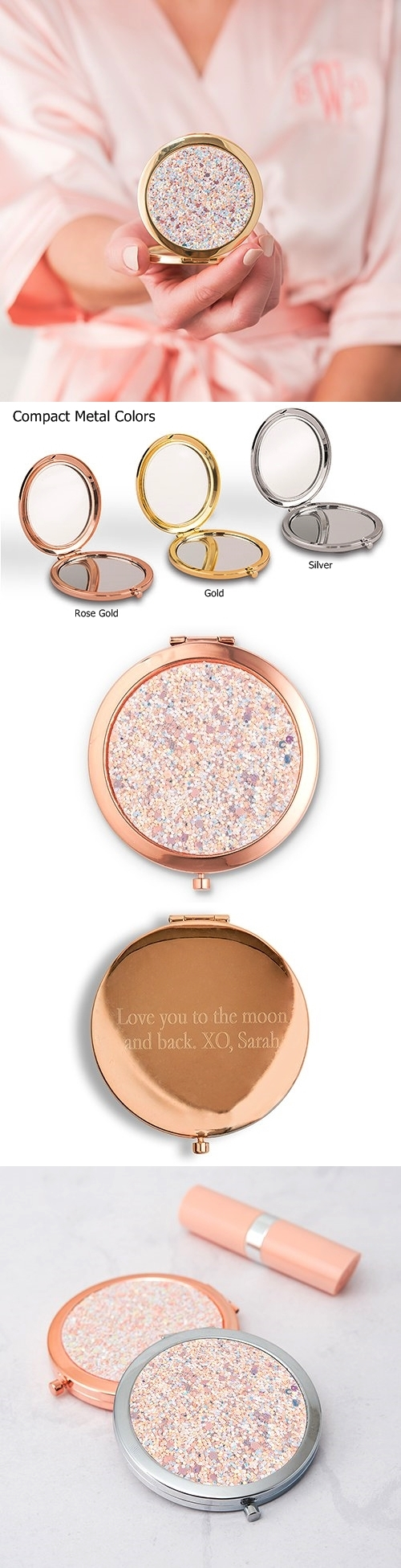 Weddingstar Personalizable Rose-Gold-Glitter Compact Mirror (3 Colors)