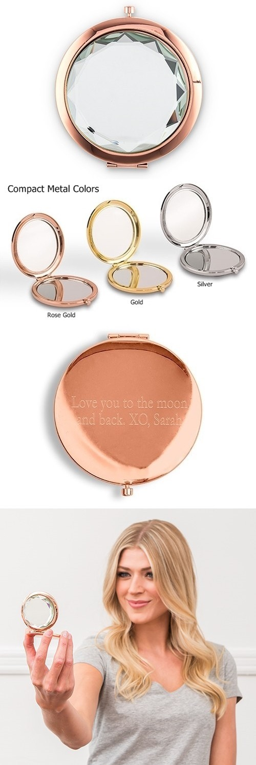 Weddingstar Personalizable Jewel Tone Compact Mirror - Crystal Clear