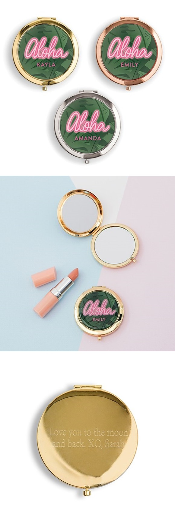 Personalized Designer Compact Mirror with 'Aloha' Summer Vibes Print