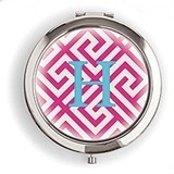 Weddingstar Designer Compact Mirror - Monogram on Greek Key Design