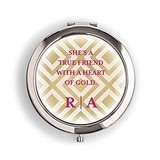 Weddingstar Designer Compact Mirror - Ikat Print Monogram Design