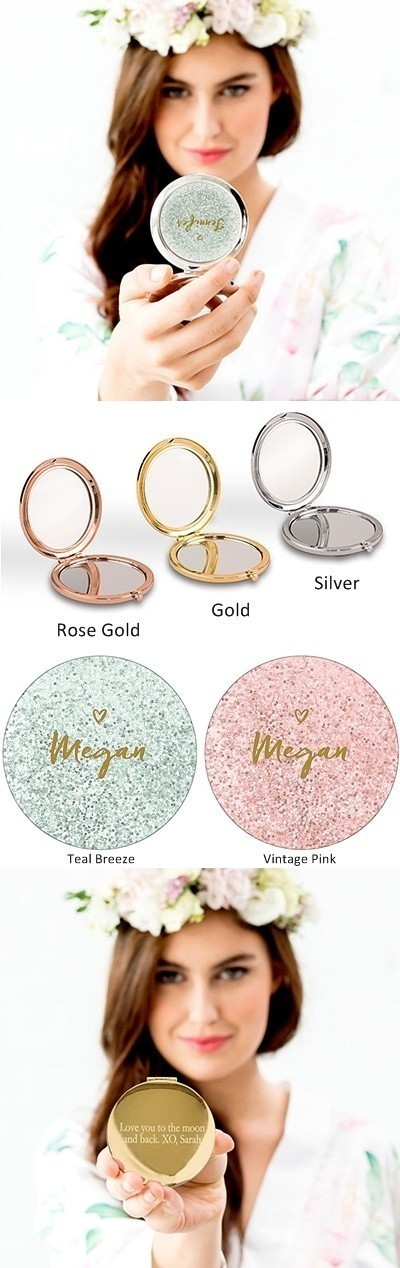 Weddingstar Designer Compact Mirror - Glitter Heart Print (2 Colors)