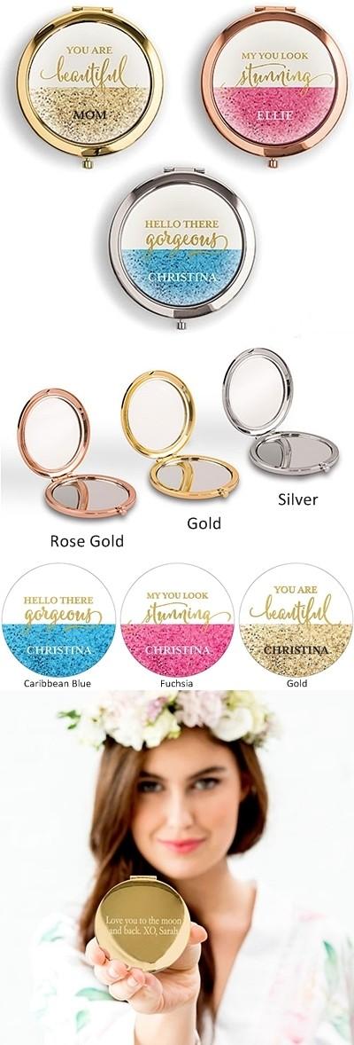 Weddingstar Designer Compact Mirror Glitter Foil Print