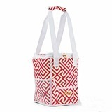 Weddingstar On-The-Go Cooler Bag - Pink & White Greek Key Motif