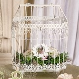 Weddingstar Antiqued-White Conservatory Style Metal Bird Cage