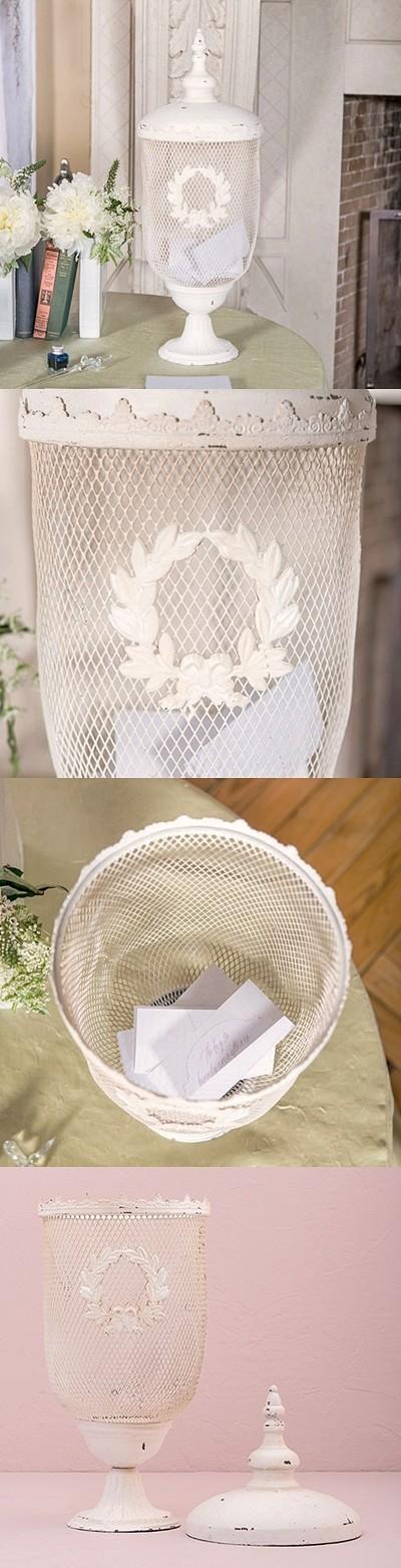 Weddingstar Antiqued-White Metal Decorative Urn Wishing Well
