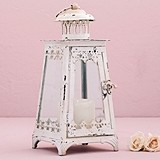 Weddingstar Antiqued-White Metal & Glass Pyramid Lantern