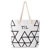 Weddingstar Personalizable Geo Prism Design Tote Bag - Black on White