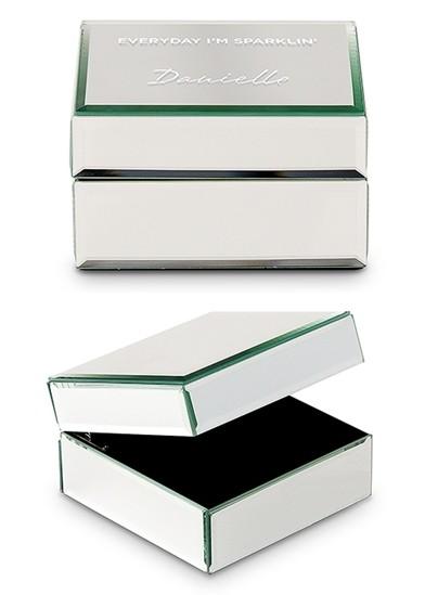 Personalizable Mirrored Jewelry Box w/ Everyday I'm Sparklin' Printing