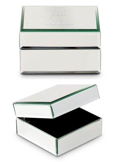 Personalizable Mirrored Jewelry Box with 'You're a Gem' Printing