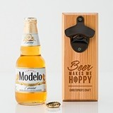 """Beer Makes Me Hoppy"" Cedar Wood Wall Mount Bottle Opener"