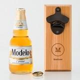 Cedar Wood Wall Mount Bottle Opener with Typewriter Monogram Etching