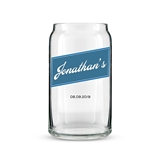 Personalized Can-Shaped Drinking Glass - Vintage Cursive Print