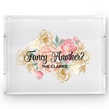 Weddingstar Acrylic Tray with 'Fancy Another?' Modern Floral Print