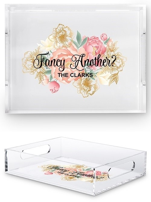 weddingstar acrylic tray with fancy another modern floral print