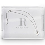 Weddingstar Rectangular Acrylic Tray with Modern Serif Initial Etching