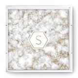 Weddingstar Square Acrylic Tray with Geo Marble Initial Foiled Print