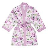 Personalizable Lavender Watercolor Silky Kimono Robe on Lavender