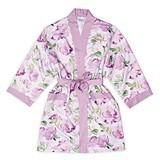 Personalizable Lavender Watercolor Silky Kimono Robe on Lavender