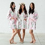 Personalizable Pink Watercolor Floral Silky Kimono Robe on Pink