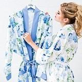 Personalizable Blue Watercolor Floral Silky Kimono Robe on Blue