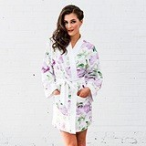 Personalizable Lavender Watercolor Floral Silky Kimono Robe on White