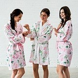 Personalizable Pink Watercolor Floral Silky Kimono Robe on White