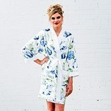 Personalizable Blue Watercolor Floral Silky Kimono Robe on White