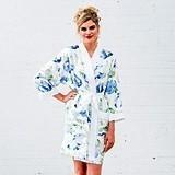 Personalizable Blue Watercolor Floral Silky Kimono Robe on White