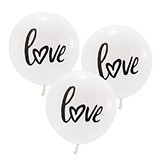 Weddingstar Large White Round Balloons with Love Design (Set of 3)