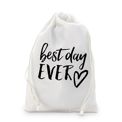 """Best day EVER"" Muslin Drawstring Favor Bags (Set of 12)"