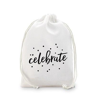 """Celebrate"" Muslin Drawstring Favor Bags (Set of 12)"