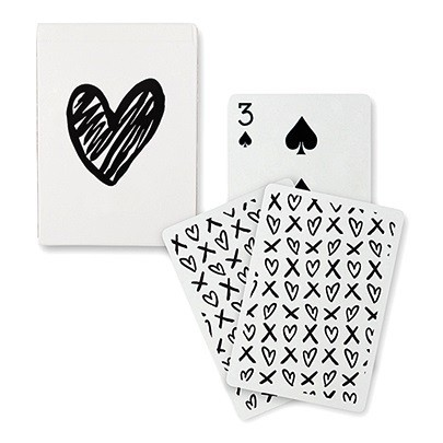 "Black Foil ""Modern Heart"" Playing Cards with X's & O's Motif"