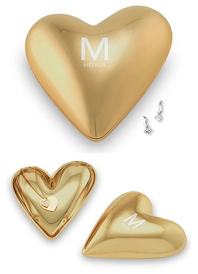 Gold Modern Heart Jewelry Box with Single Initial & Text Line Etching