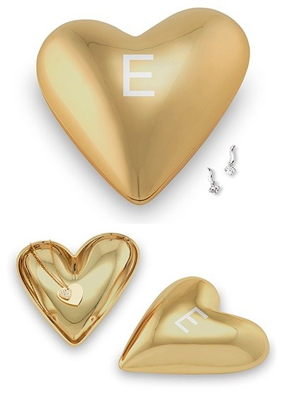 Weddingstar Gold Modern Heart Jewelry Box with Single Initial Etching