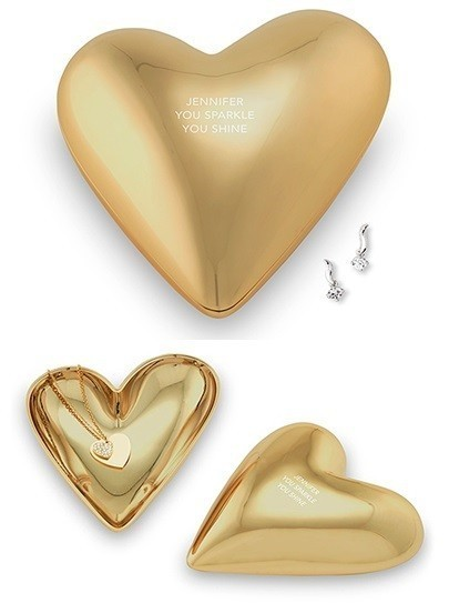 Weddingstar Gold Modern Heart Jewelry Box with 3 Lines of Text Etching