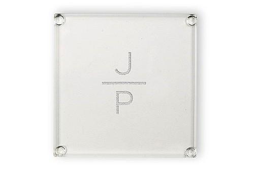 Weddingstar Contemporary Stacked Monogram Design Glass Coaster