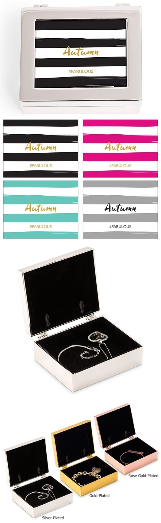 Small Modern Personalized Jewelry Box - Striped Print (3 Box Colors)