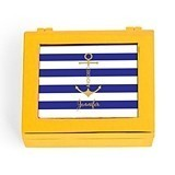 Small Modern Personalized Jewelry Box - Anchor Print (3 Box Colors)