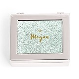 Small Modern Personalized Jewelry Box - Glitter Heart (3 Box Colors)