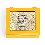 Small Modern Personalized Jewelry Box - Sparkle Print (3 Box Colors)