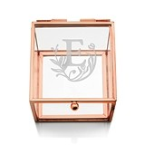 Glass Jewelry Box with Rose Gold Edges - Modern Fairy Tale Etching