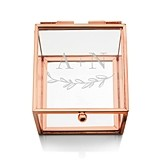 Glass Jewelry Box with Rose Gold Edges - Garland Under Etching