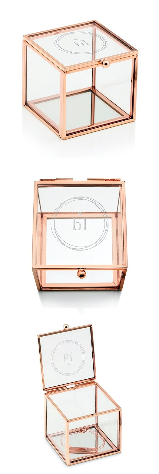 Glass Jewelry Box with Rose Gold Edges - Monogram Simplicity Etching